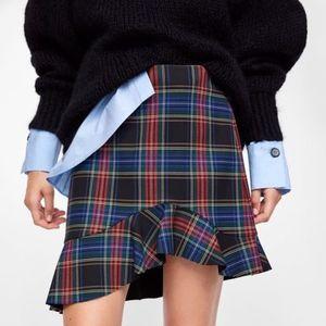 New ZARA Plaid Asymmetric Ruffle Tartan Skirt M